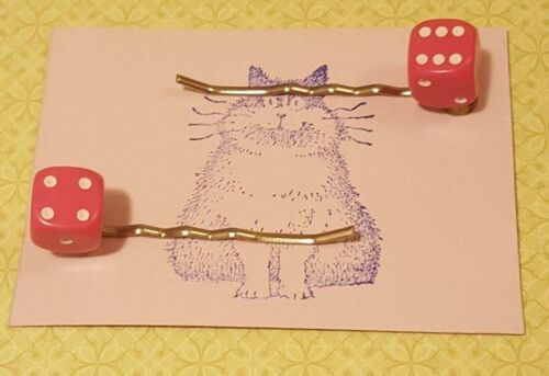 Handmade set of two small pink dice hair clip bobby pin hair clips