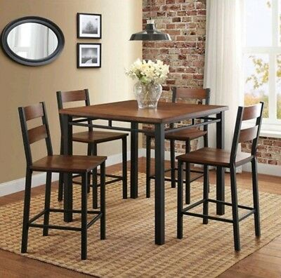 Rustic Dining Table Set For 4 High Top Counter Height Chair Kitchen Metal Wood 764053505263 Ebay