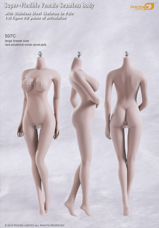 Phicen Super-Flexible Seamless BIG bust body w  Steel Skeleton Pale 1 6 S07C