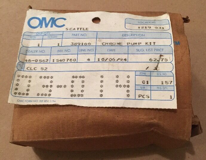 Nos Original Omc Omc Omc Johnson Evinrude Wasser Pumpe Chrom Set 389166 318433 13eb9b