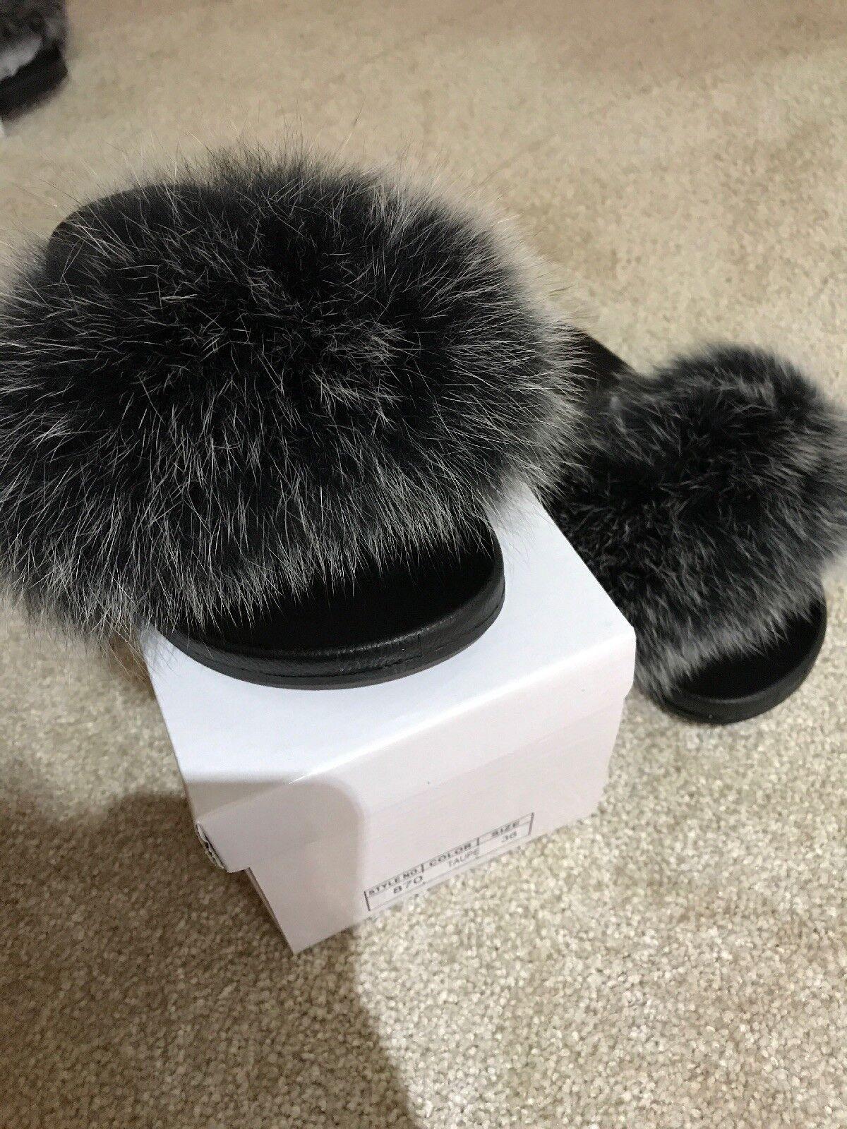 Fox Fur Sliders Slides gris Uk Seller Taille 36