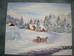 FOLK ART AMERICANA WINTER SNOW LANDSCAPE LOG CABIN HORSE WAGON STREAM PAINTING