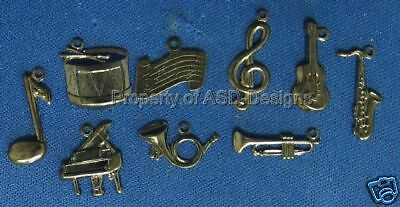 50pc Hematite Plated Musical Instrument Note Charm 5626