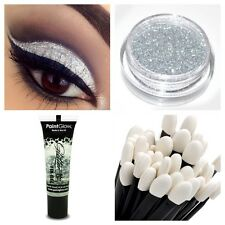 Glitter Eyeshadow Silver + LARGE Loose Glitter Eye shadow Fix Gel  + Wand