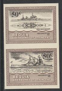 St Vincent Bequia 5421 - 1985 Navires De Guerre De Ww2 50 C Imperf Paire Non Montés Comme Neuf-afficher Le Titre D'origine