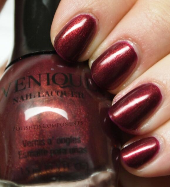 NEW VENIQUE Nail Polish Lacquer FUNKY WEDGE burgundy and black swirl frost RED