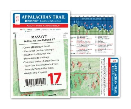 Appalachian Trail Map AT-17 Dalton ma-Rutland VT à poche profil