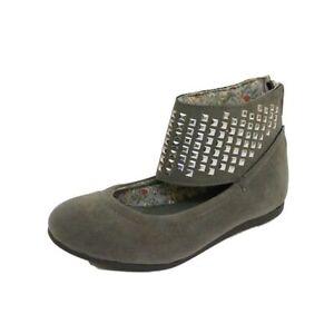 Chicas Gris Gamuza Sintética Correa De Tobillo Tachonado Slip-on Bombas Zapatos informales Niño Reino Unido 11-6