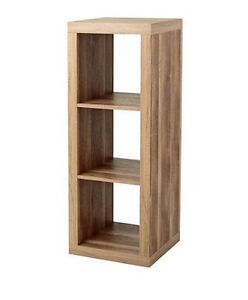 Image Is Loading Weathered Wood 3 Cube Storage Modern Shelf Bookcase