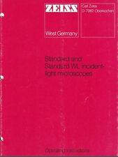 Zeiss Standard Amp Standard Wl Reflected Light Microscope Operating Manual On Cd