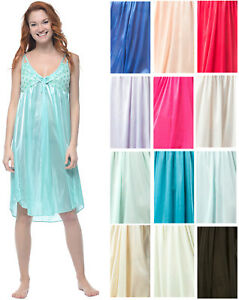 Casual-Nights-Women-039-s-Satin-Lace-Camisole-Nightgown
