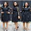 thumbnail 10 - Women Evening Cocktail Dress Plus Size Lace Skirt Casual Dresses Bow Long Sleeve