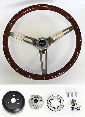 "Bronco F100 F150 F250 F350 Wood Steering Wheel High Gloss w/ Rivets 15"" Ford Cap"