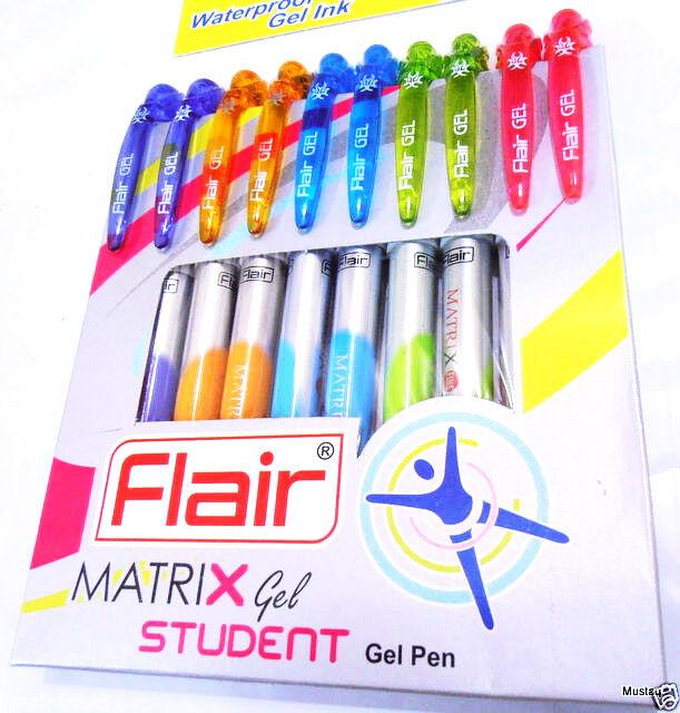 Flair Matrix Waterproof Gel ink pen mix body color Red ink 40+5=45pcs