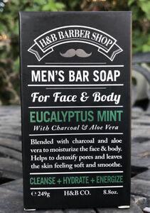 Men-039-s-Bar-Soap-Eucalyptus-Mint-H-amp-B-Barber-Shop-For-Face-And-Body-NIB