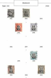 Rhodesia stamps 1922 Collection of 7 stamps between SG291-SG303 HIGH VALUE!