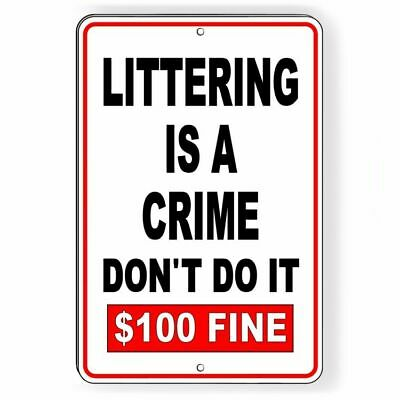 Illegal Dumping Is Crime Aluminum Metal 8x12 Warning Street Sign