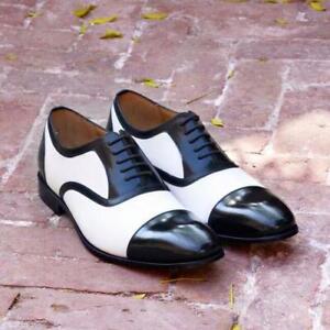 Homme-Fait-main-Bicolore-Noir-Blanc-Derbies-Formal-Party-Wear-Cuir-Veau-Chaussures