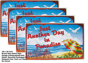 LOT-Another-Day-In-Paradise-TIN-metal-SIGN-Beach-coastal-cottage-bar-wall-decor