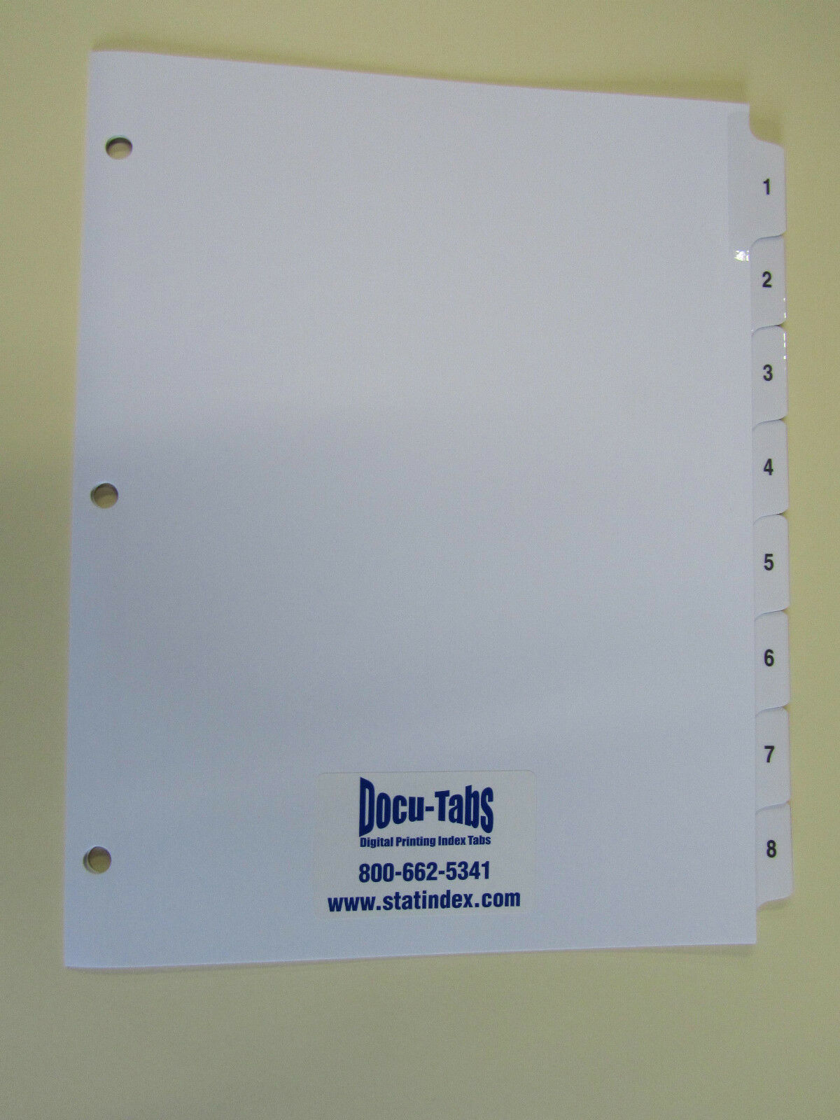 50 SETS Numbered index tab dividers, 3 hole reinforced,  1.65 per set