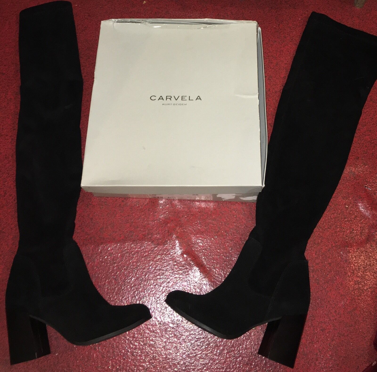 Grandes zapatos con descuento CARVELA KURT GEIGER REAL SUEDE GENUINE LEATHER OVER THE KNEE THIGH HIGH BOOTS