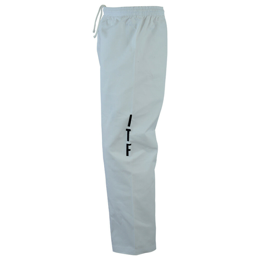 Details about Playwell ITF Taekwondo White Trousers Adults Pants Gi Bottoms  Training TKD