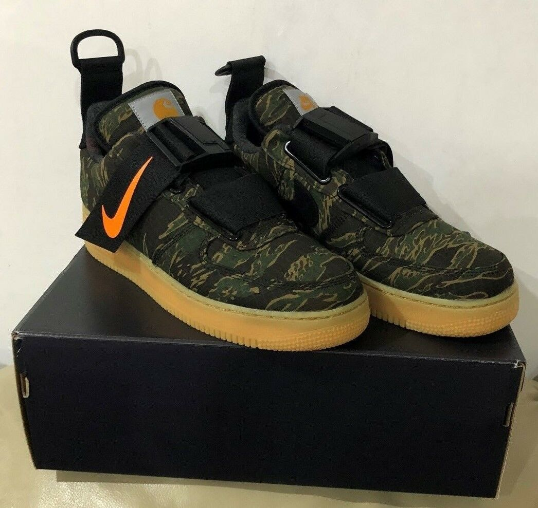 NIKE AIR FORCE 1 UTILITY LOW PRM WIP CARHARTT CAMO GREEN TOTAL orange TRAINERS