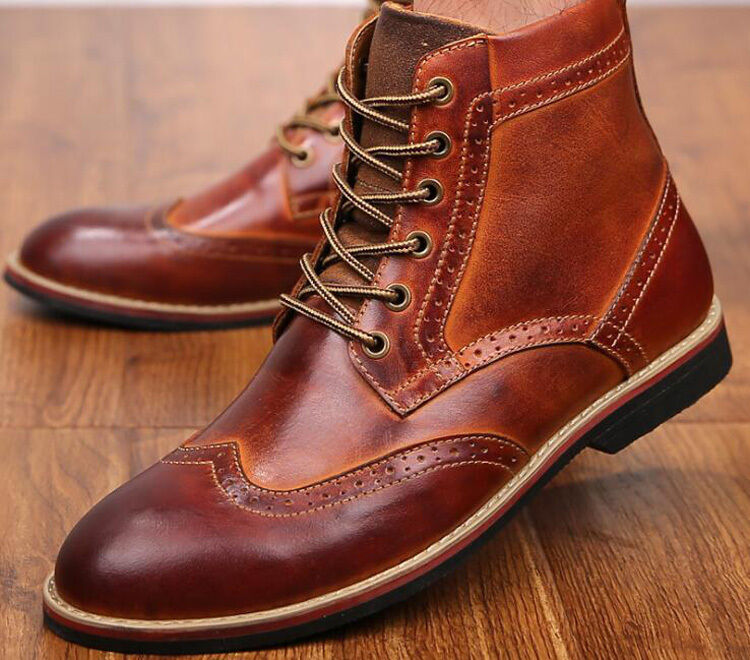 Brogue Uomo Lace Up British Dress Formal Shoes Oxford Brogue Wing tip Ankle Boot
