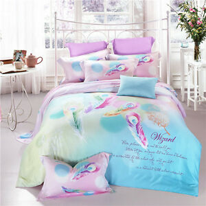 4pc-Colorful-Feather-Print-Bohemian-Moroccan-Paisley-King-Queen-Duvet-Cover-Set