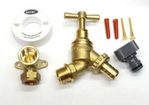 Outside Tap Kit With Garden Hose Fittings /& Brass Wall Plate Elbow