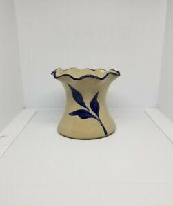 """Williamsburg Pottery Salt Glaze Cobalt Blue Leaf Small Vase 3 1/2"""" Fluted top"""