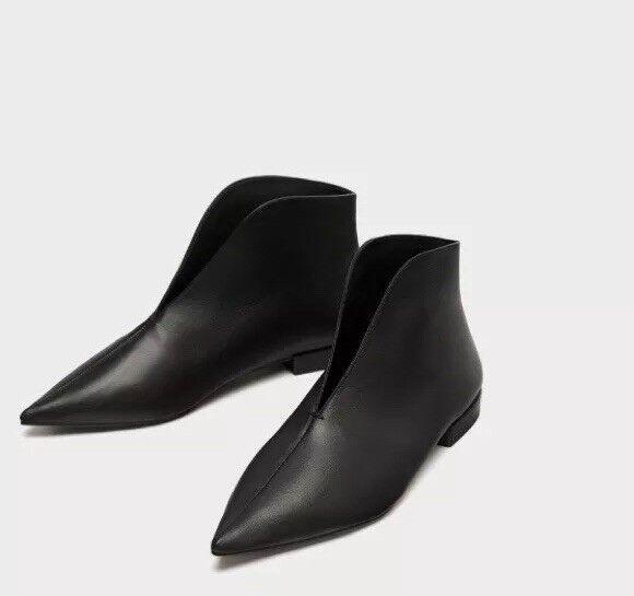 Zara mujer 100% Cuero Plano botas al tobillo con con con V-Vamp Negro Talla 6.5 EU 37 Nuevo con etiquetas  Obtén lo ultimo