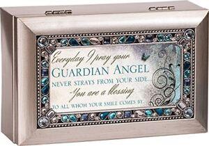 Cottage Garden Angels by Gods Eternal Love Black Bead Inlay Petite Music Box Plays Amazing Grace
