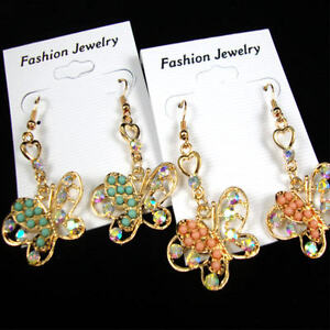 BUTTERFLY-EARRINGS-W-AB-CRYSTAL-STONES-amp-COLORED-MINI-BEADS-GOLD-OR-SILVER