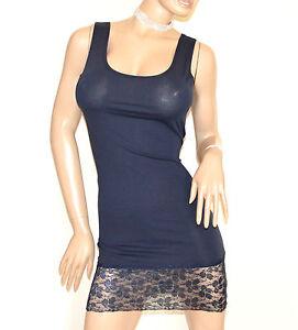 CANOTTA-LUNGA-BLU-top-sottogiacca-mini-abito-sexy-pizzo-ricamato-cotone-A40