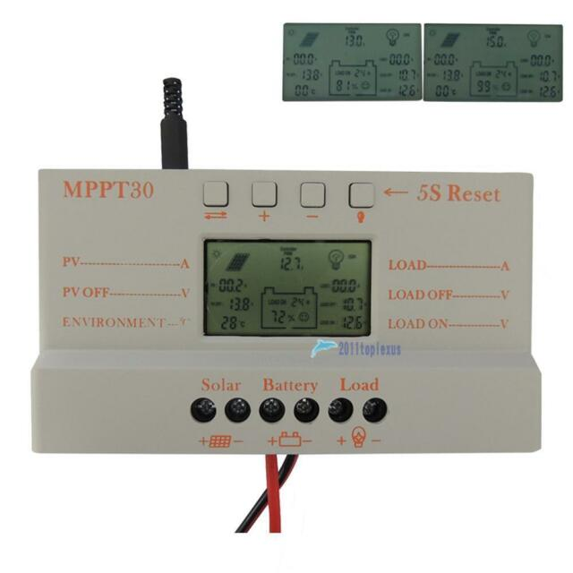 LCD 30A MPPT Solar Panel Regulator Charge Controller 12V/24V 380W/760W W/ USB TL