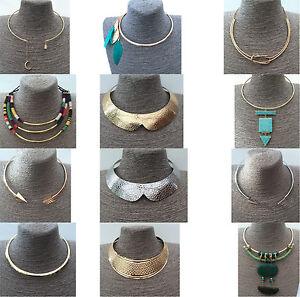 Torque-Torc-Choker-Slave-Collar-Necklace-Geometric-Bohemian-Boho-Gold-Silver