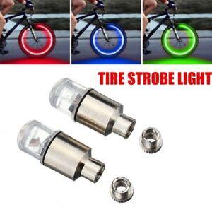 2PC Auto Car Accessories Bike Supplies Neon Strobe LED Tire Valve Caps Lights