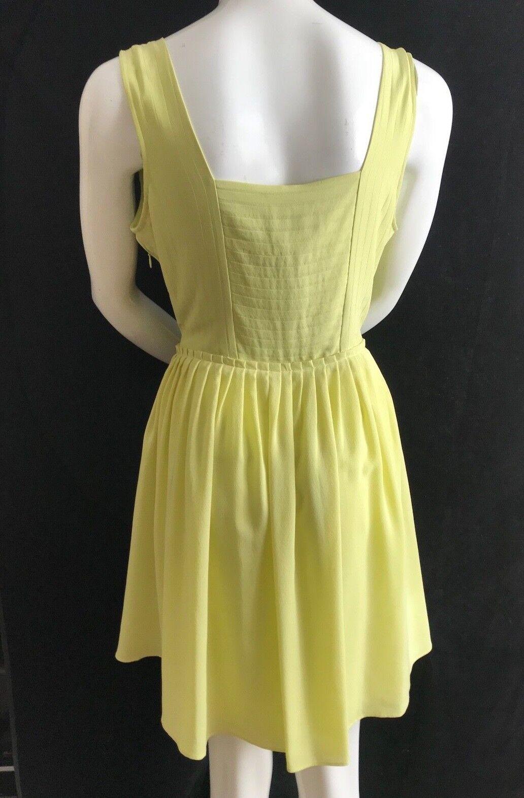 BNWT REISS Pretty Pretty Pretty Citrus  Gelb Leia Pleat Detail 100% Silk Dress UK14 bcf00f