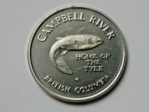 Campbell-River-BC-CANADA-1982-Trade-DOLLAR-Token-with-Tyee-Salmon-Fish-Animal