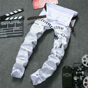 Para Hombre Blanco Slim Fit Pantalones Vaqueros De Moda Hip Hop Denim Vaqueros De Impresion De Periodicos Ebay