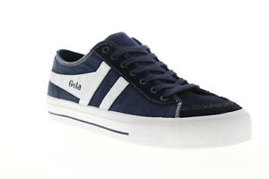 Gola-Quota-II-CMA677-Mens-Blue-Canvas-Retro-Lace-Up-Low-Top-Sneakers-Shoes