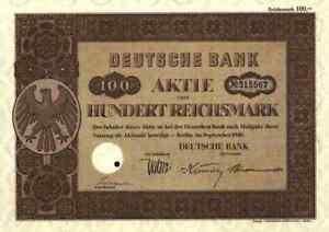 Belle Deutsche Bank 1940 Berlin Francfort Elberfeld Vienne Prague Sofia 100 Rm Düsseldorf-afficher Le Titre D'origine Disponible Dans Divers ModèLes Et SpéCifications Pour Votre SéLection