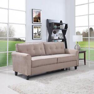 Details about Classic Ultra Comfortable Brush Microfiber Fabric Living Room  Sofa (Hazelnut)