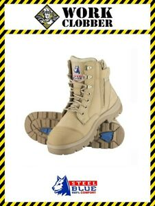a187cce8bae Details about Steel Blue Southern Cross Zip Sand Leather Lace Up Safety  Boot 312661 NEW!