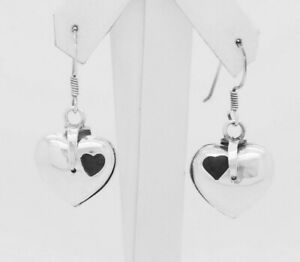 Vintage-Sterling-Silver-925-Puffy-Locket-Heart-Dangle-Drop-Earrings