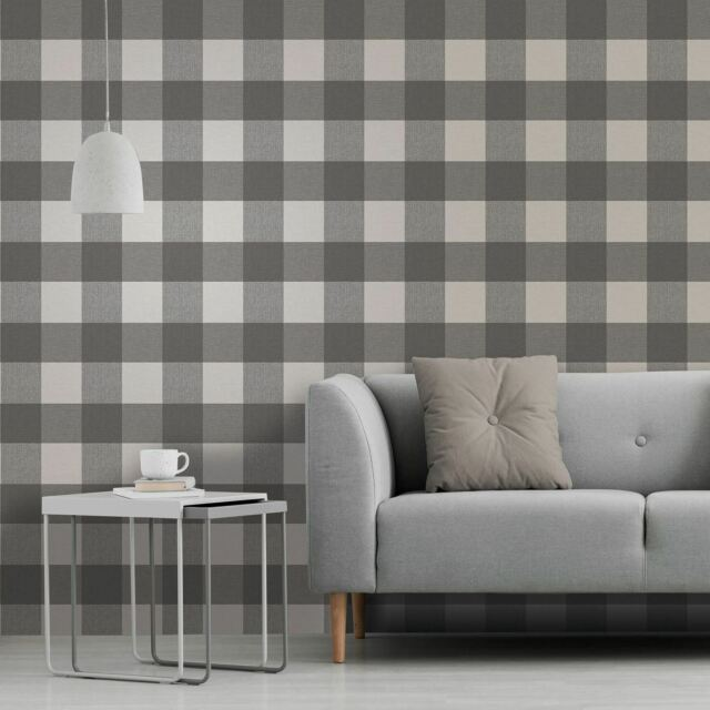 Glamorous Charcoal Grey Check Wallpaper with Glitter by Crown M1502