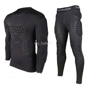 Men-Sport-Basketball-Soccer-Football-Goalkeeper-Armor-Foam-Pad-Jersery-Top-Pants