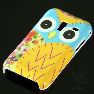 Samsung-Galaxy-Ace-Plus-S7500-Hard-Handy-Case-Hulle-Schale-Etui-Eule-Gelb-Owl