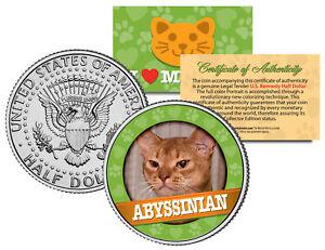 ABBYSSINIAN-Cat-JFK-Kennedy-Half-Dollar-US-Colorized-Coin